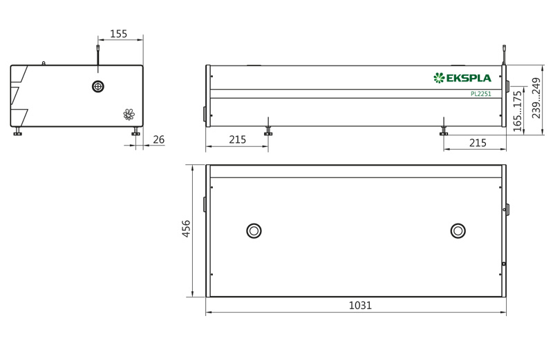 Dimensions of PL2250 series laser head