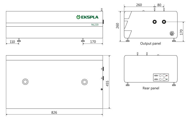 NL220 series laser head dimensions