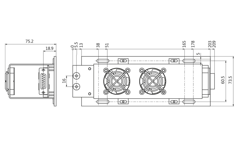 Fig. 2. Mounting dimensions of LDD-80-4 driver