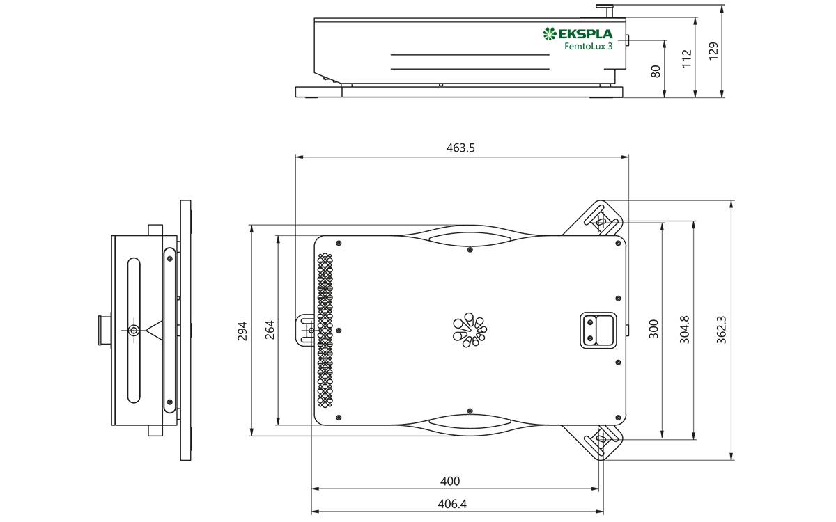 Outline drawing of FemtoLux 3 laser head