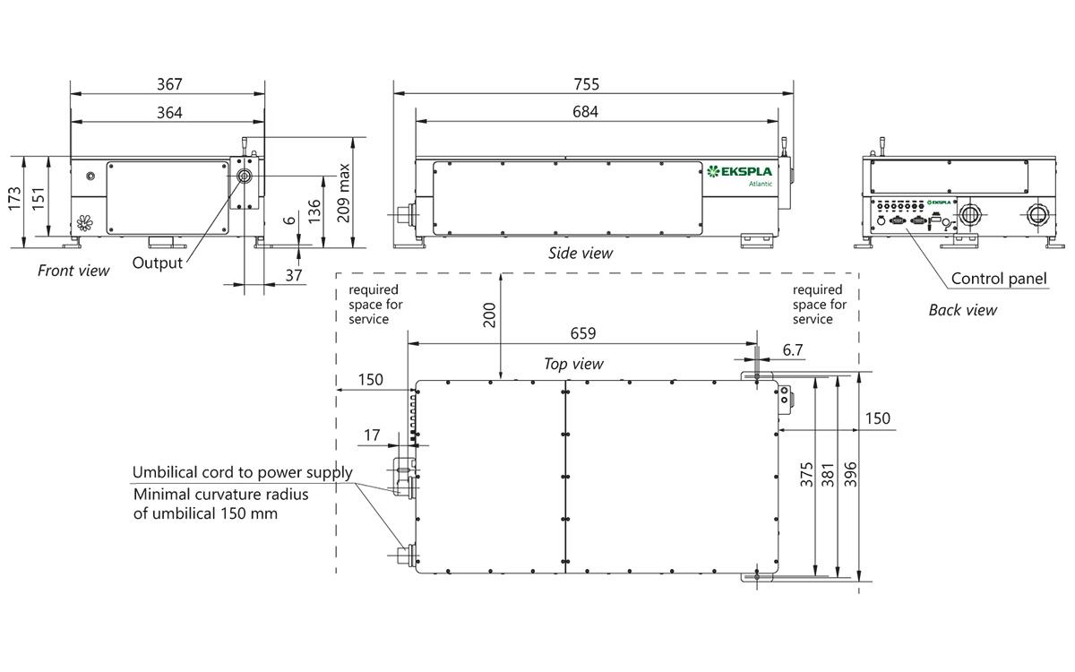 Atlantic IR6HE, IR25, IR50, IR80 laser head outline drawings (dimensions in mm)