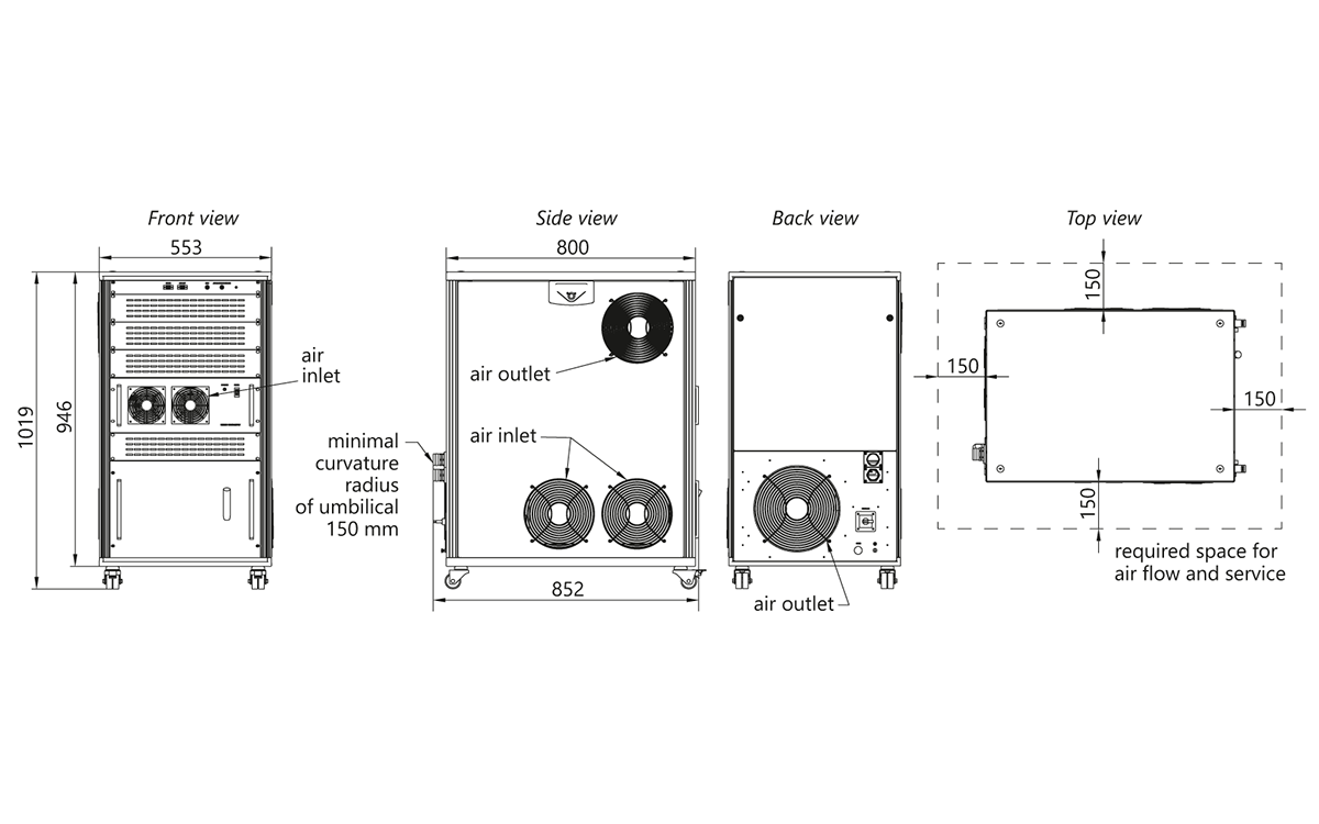 Atlantic IR6HE, IR25, IR50, IR80 power supply unit outline drawings