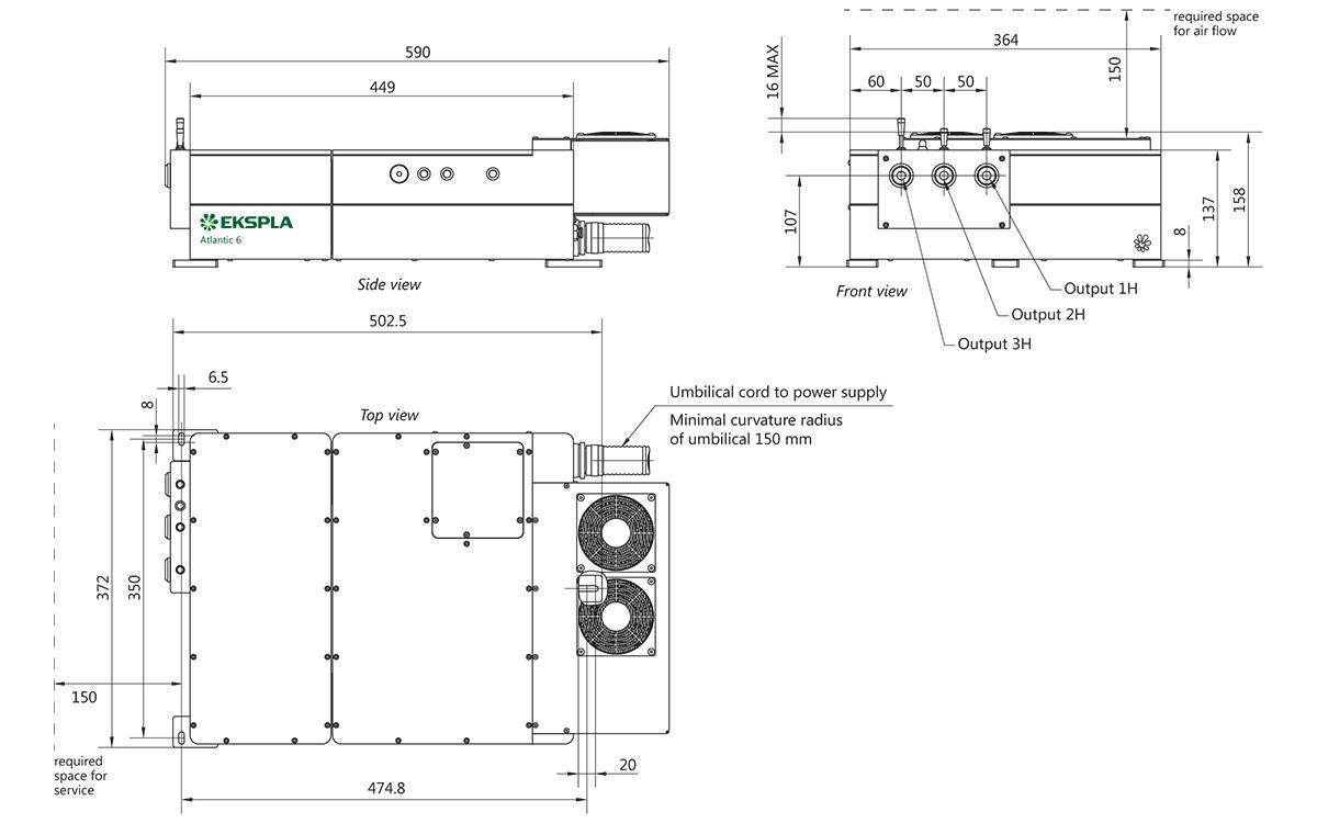 Atlantic GR2 laser head outline drawings (dimensions in mm)