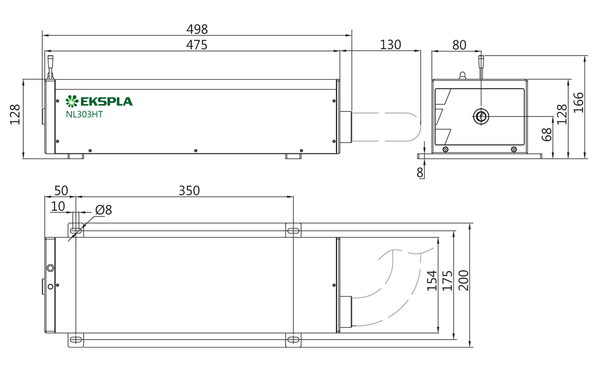 Typical NL300 series laser head outline drawing