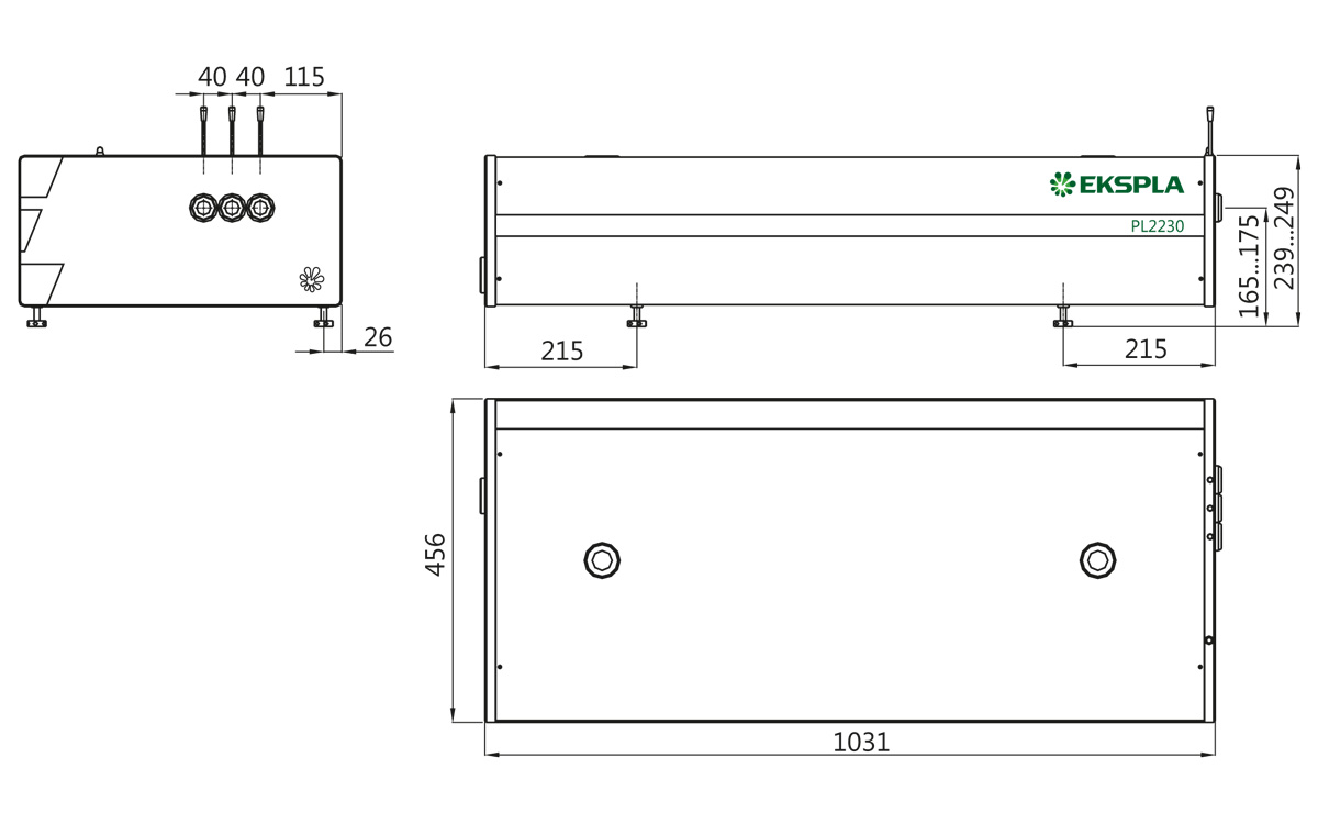 Dimensions of PL2230 series laser head