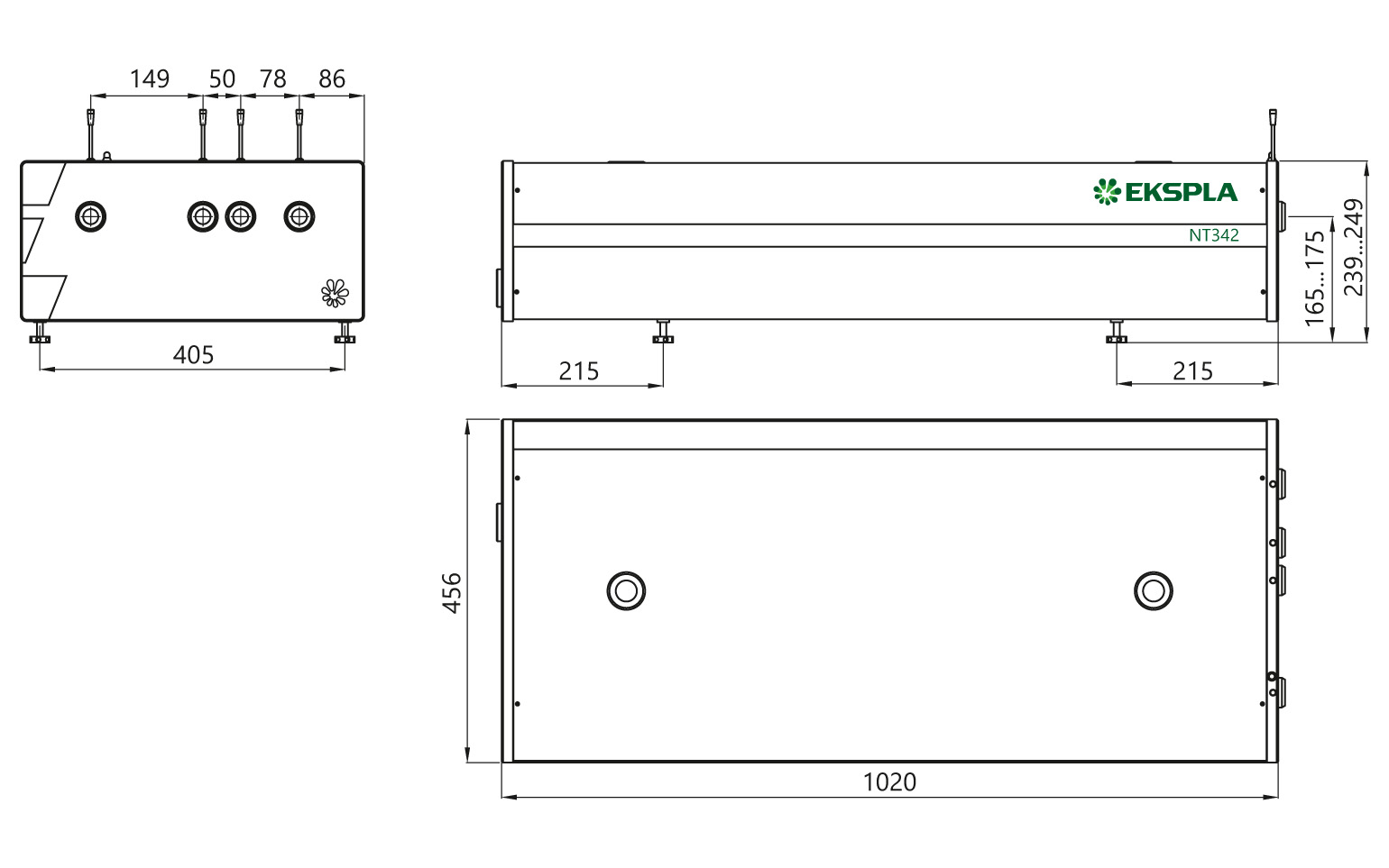 NT342 series laser head typical outline drawing. Unit length and port position vary depending on model