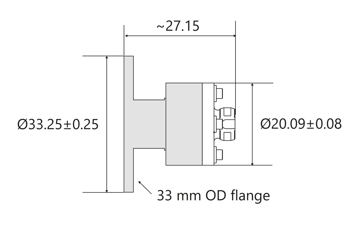 LightWire FFS100CHI/200 laser collimator flange outline drawing for beam diameter 2.1/2.0 mm