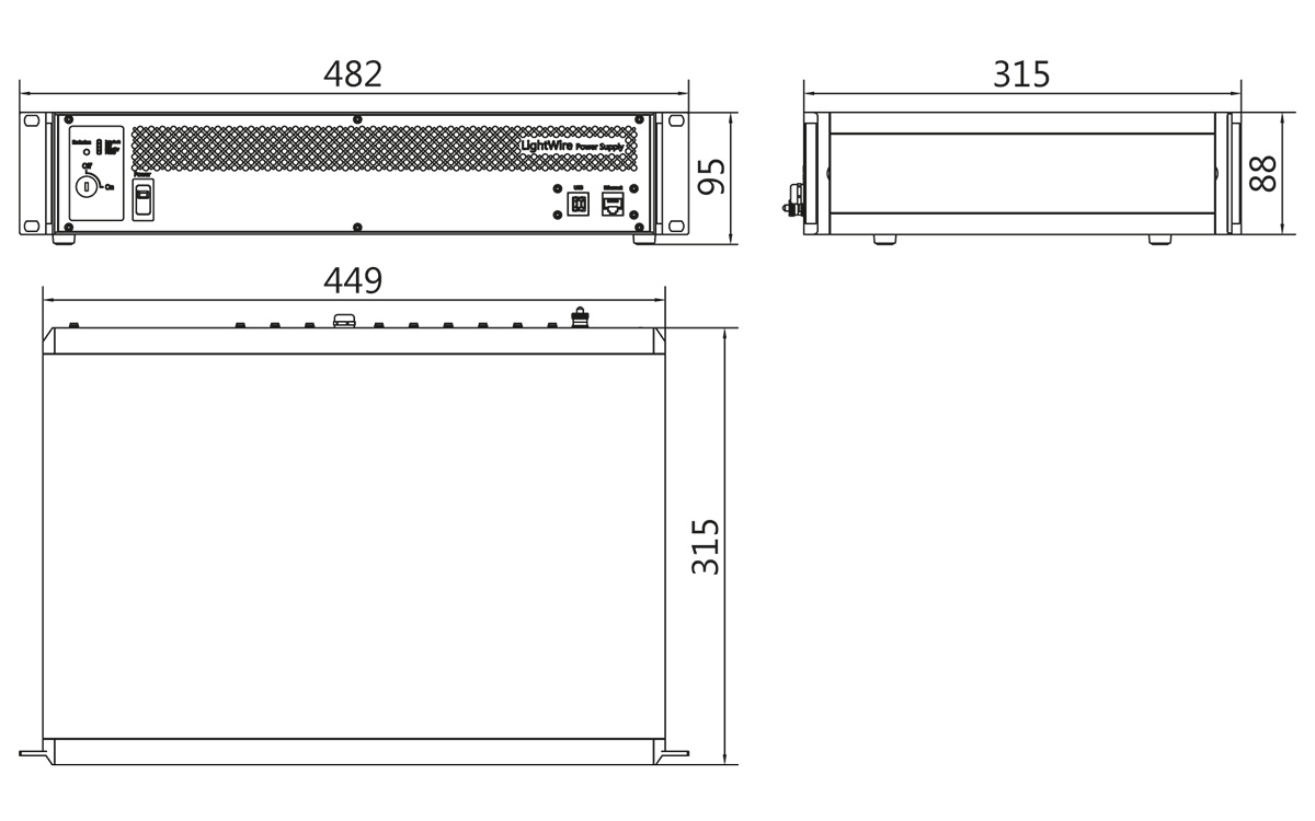 LightWire FFS series control unit outline drawing (19