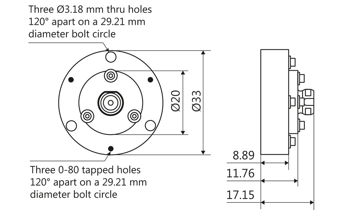 LightWire FFS100CHI laser collimator flange outline drawing for beam diameters 0.9 mm and 1.3 mm