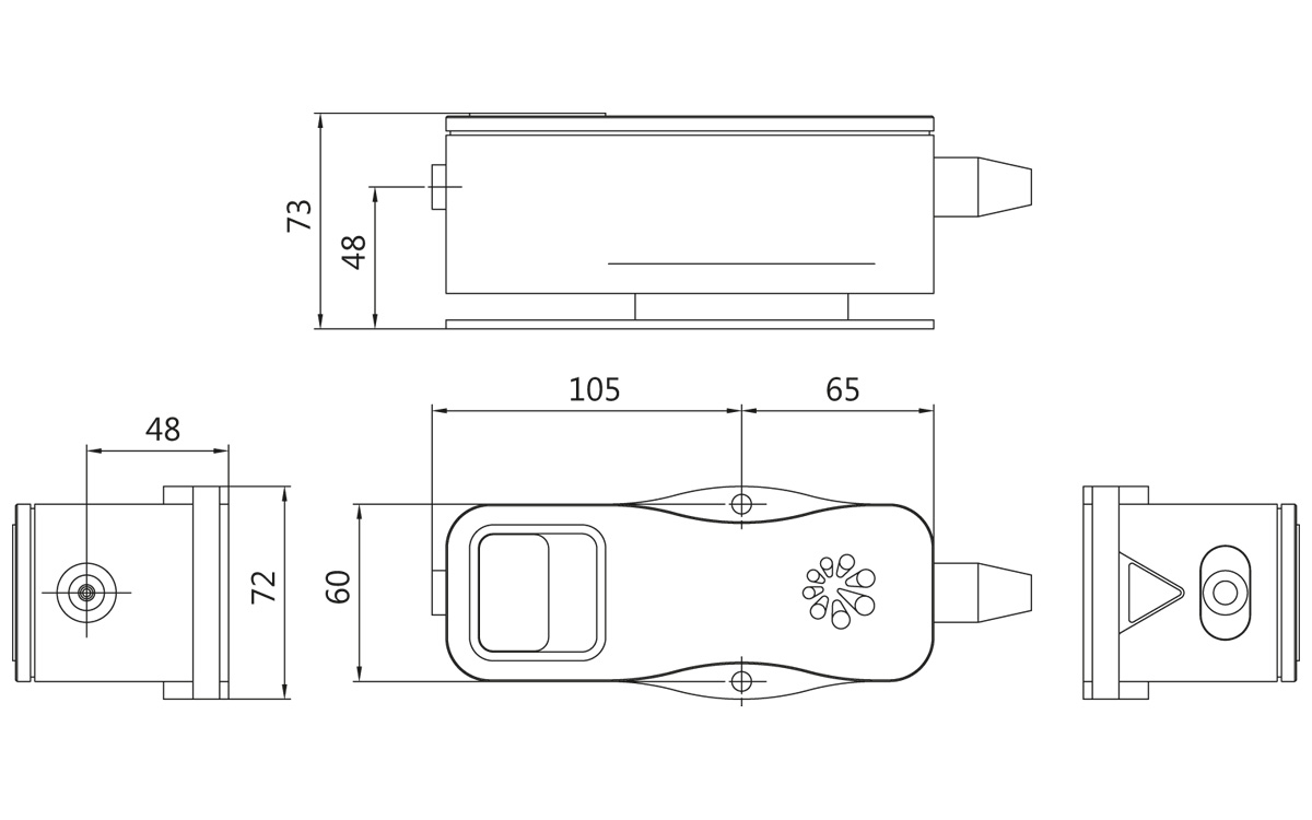 LightWire FF200 laser collimator unit outline drawing. All dimensions are in millimetres.