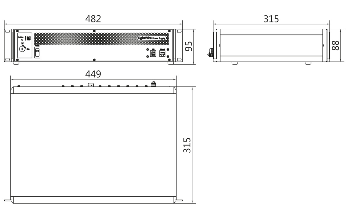 LightWire FF200 control unit outline drawing (19 inch rack mountable version). All dimensions are in millimetres.