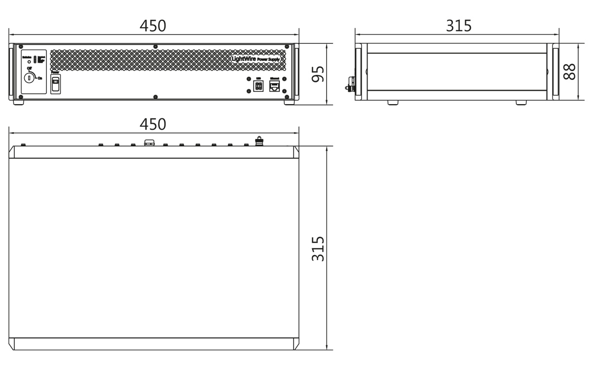LightWire FF200 control unit outline drawing (stand alone version). All dimensions are in millimetres.