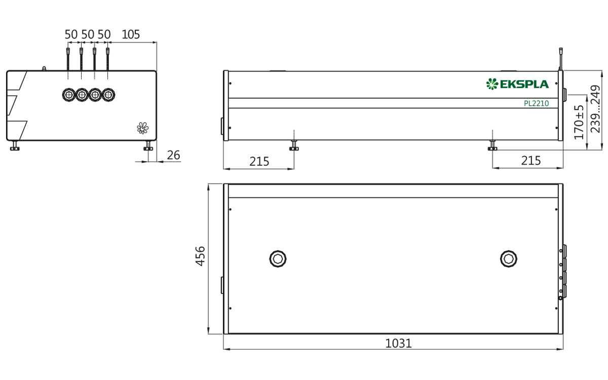 Dimensions of PL2210 series laser head