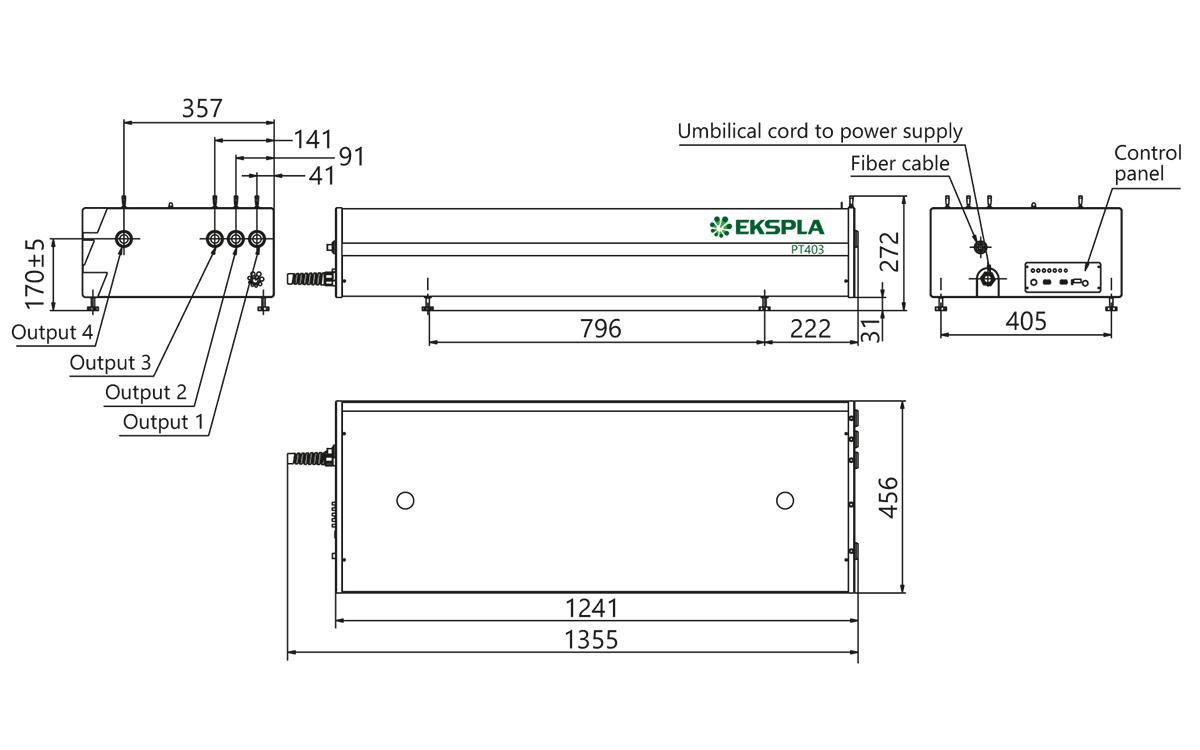 PT403 series laser head typical outline drawing